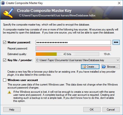 Keepass Master Password ja Key file
