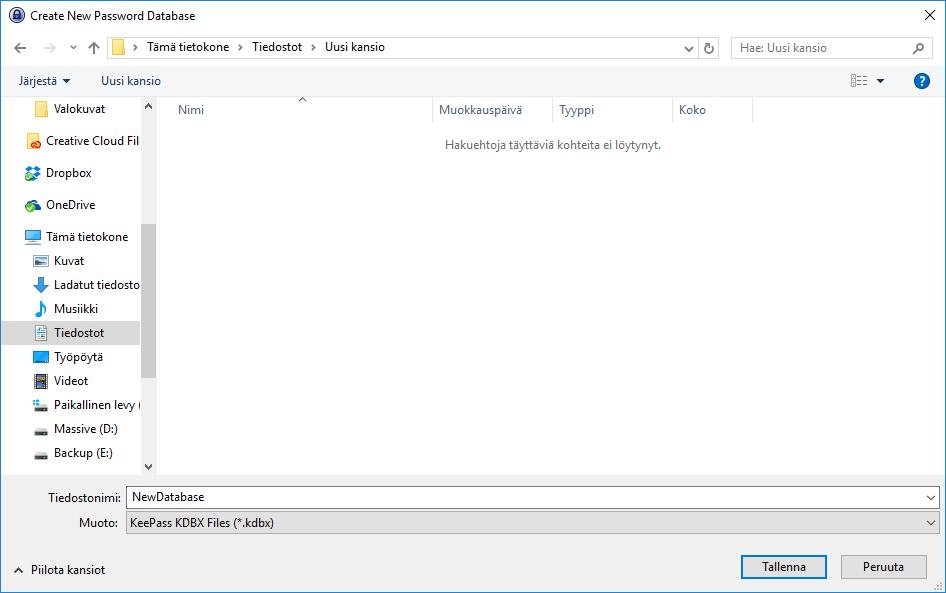 Keepass New Database